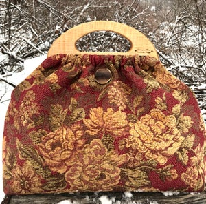 Image of Medium Bag, featured tiger maple handles .. cabbage roses