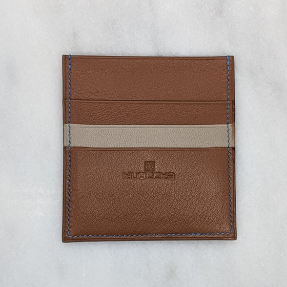 Image of Square CARD Holder – Caramel & Taupe
