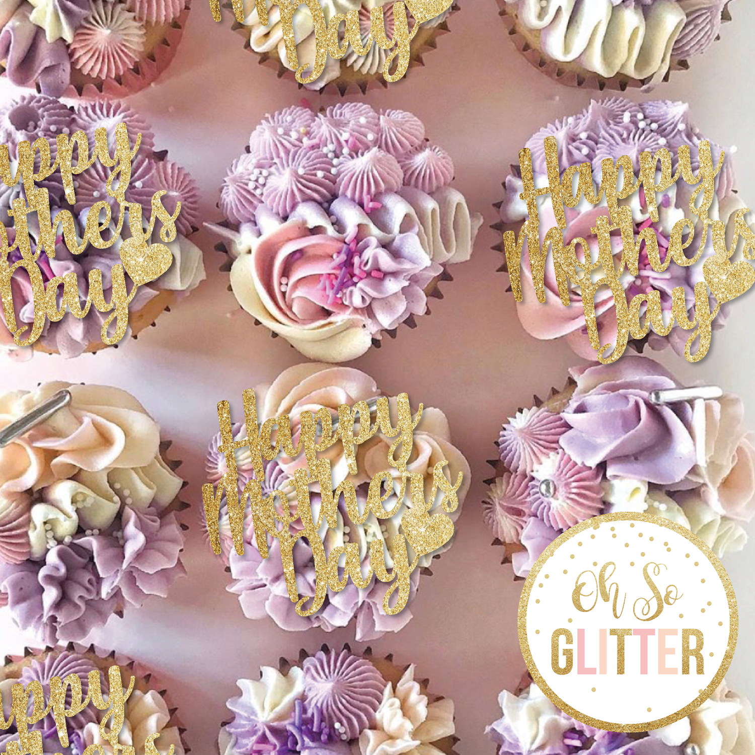 Image of Happy Mothers Day - Cupcake toppers - no sticks