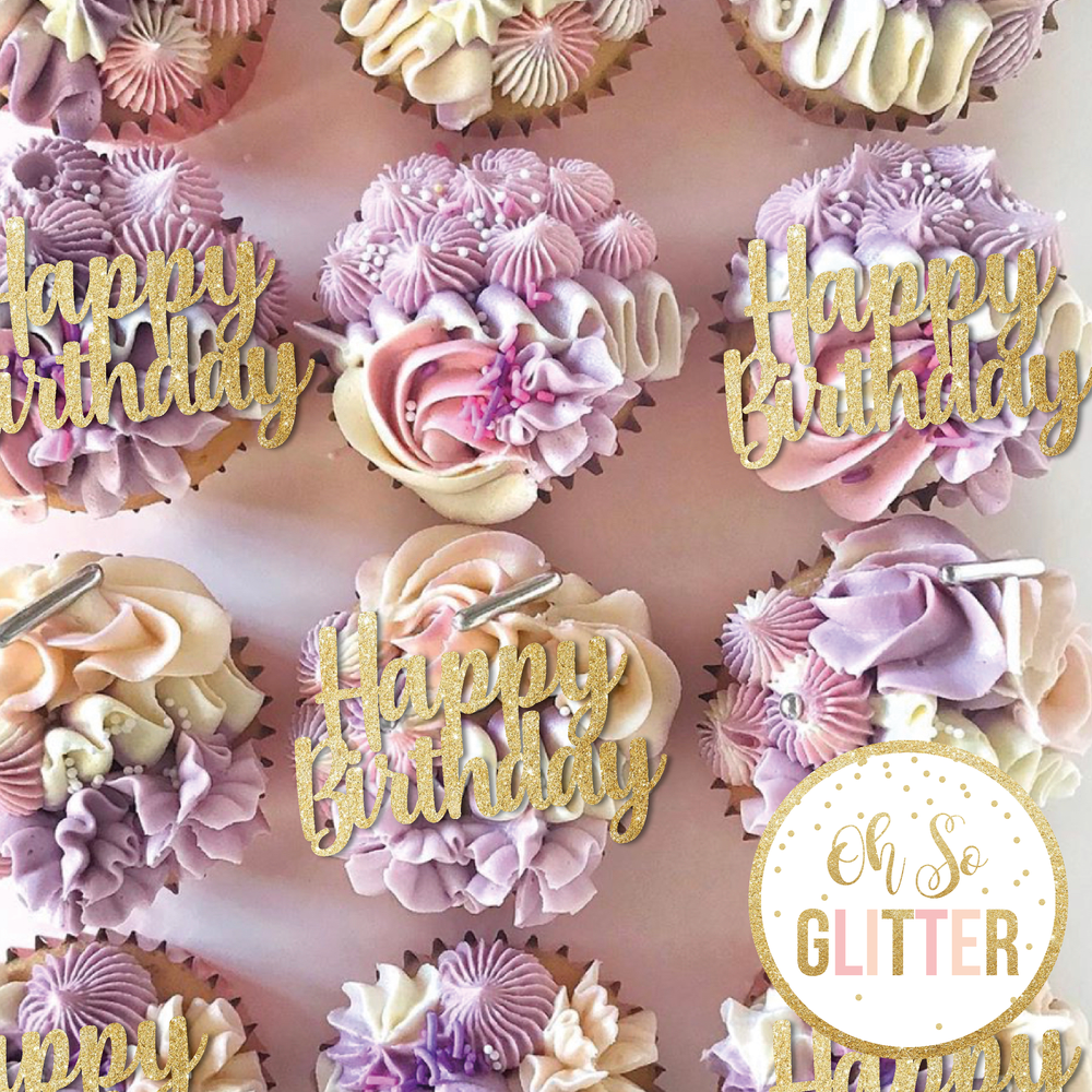 Image of Happy Birthday - Cupcake toppers - no sticks