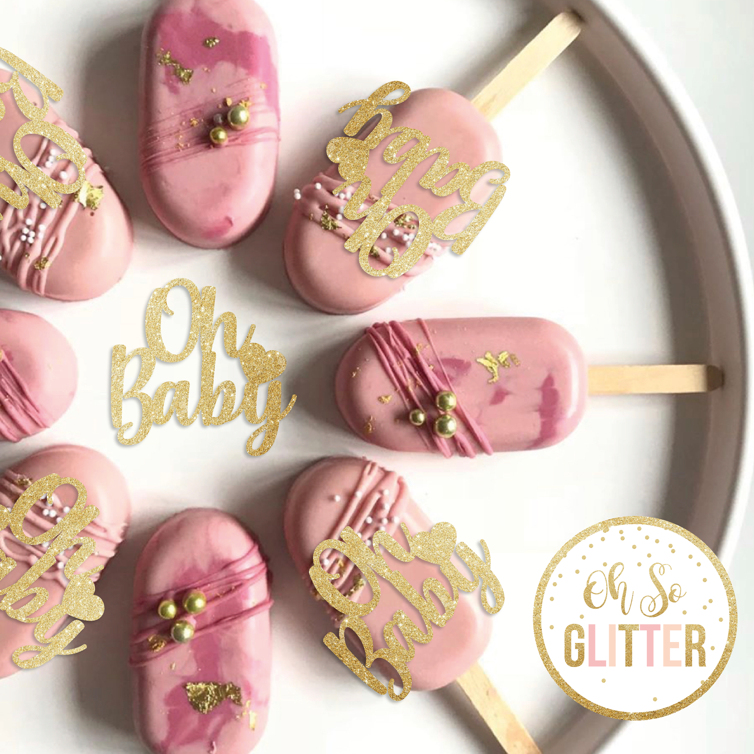 Image of Oh Baby - Cupcake and Cakesicle toppers - no sticks