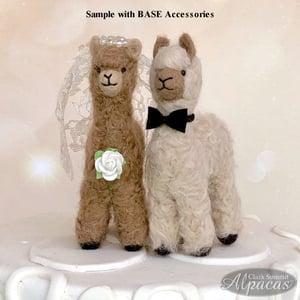 Image of Alpaca Bride Groom Wedding Cake Topper Decoration Alpaca Fiber Pink Brown Beige Wedding Decor