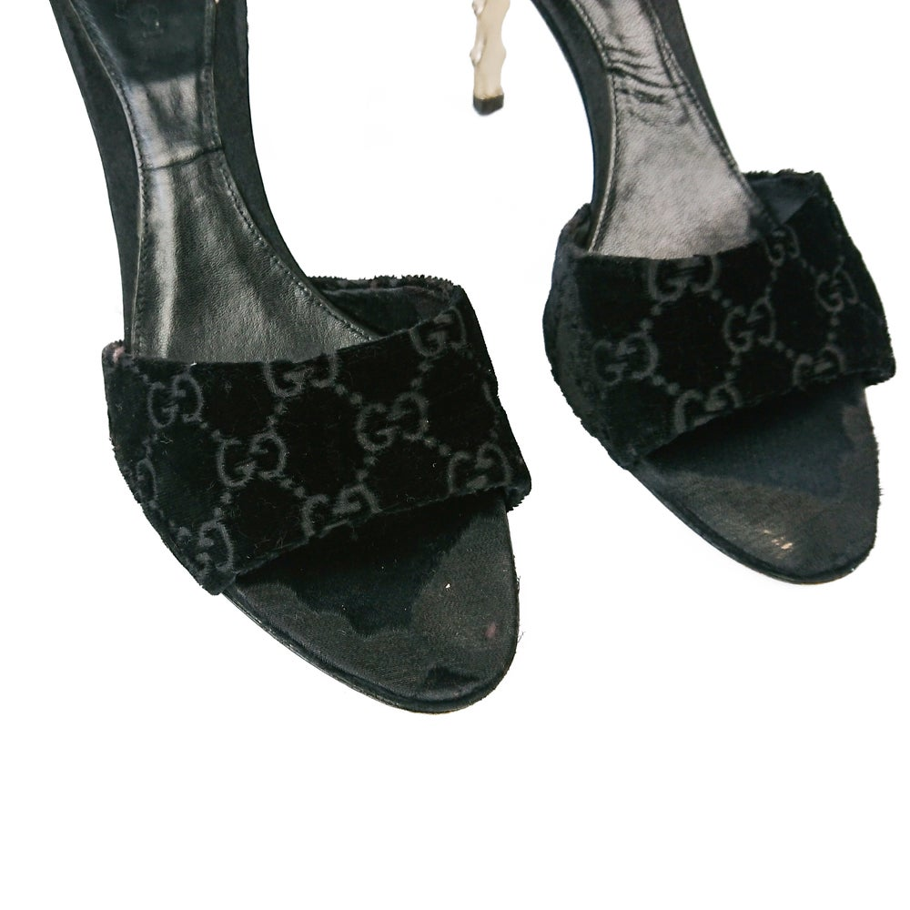 Image of Tom Ford for Gucci Velvet Bamboo Mules