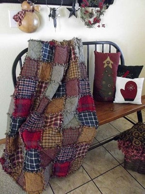 Image of Patchwork Throw Reversible Rag Quilt
