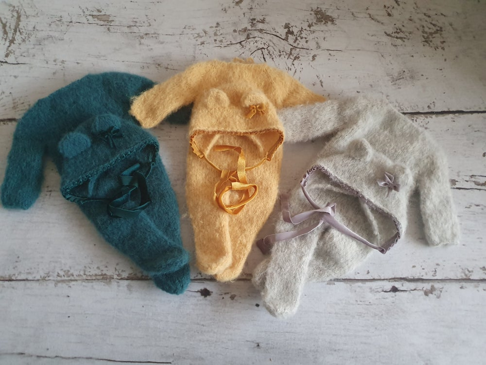 Image of Footed newborn rompers. Ready to post