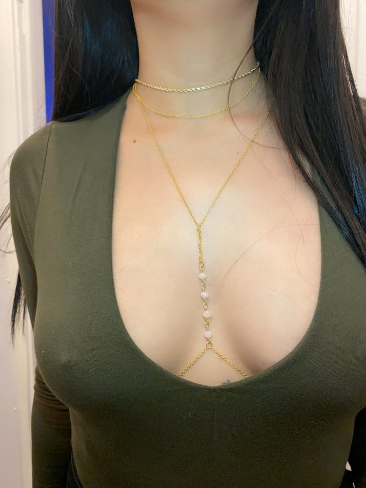 Image of Crystal faceted stones gold plated body chain