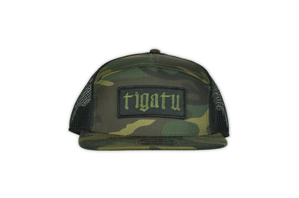 "Image of ""Shop"" Flat Bill Snapback - Camo/Olive"