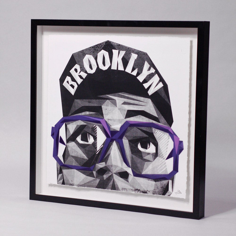 Image of Unique + Embellished Hand-Pulled Screen Print - Spike'd out MARS - PURPLE