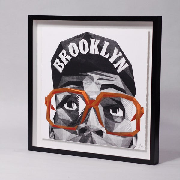 Image of Unique + Embellished Hand-Pulled Screen Print - Spike'd out MARS - ORANGE