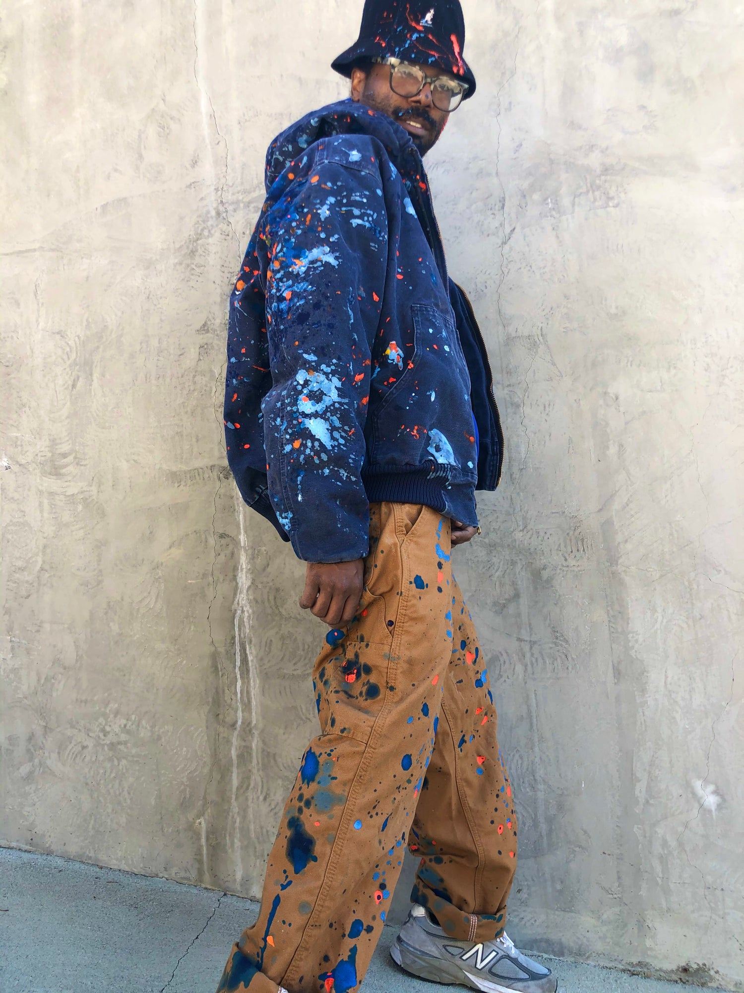 Image of Painted carhartt dungarees 32x30