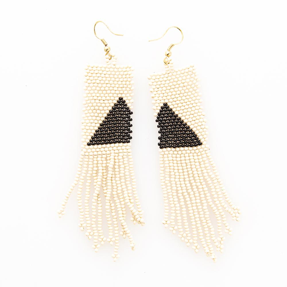 Image of Modern Triangle Beaded Fringe Earrings - Black + Ivory