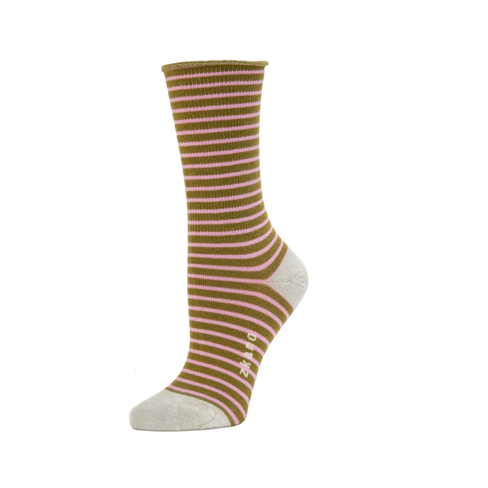 Image of Zkano Stripe Slouch Socks - Moss (organic cotton)