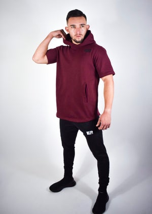 Image of ESSENTIAL  SHORT SLEEVE HOODIE MAROON