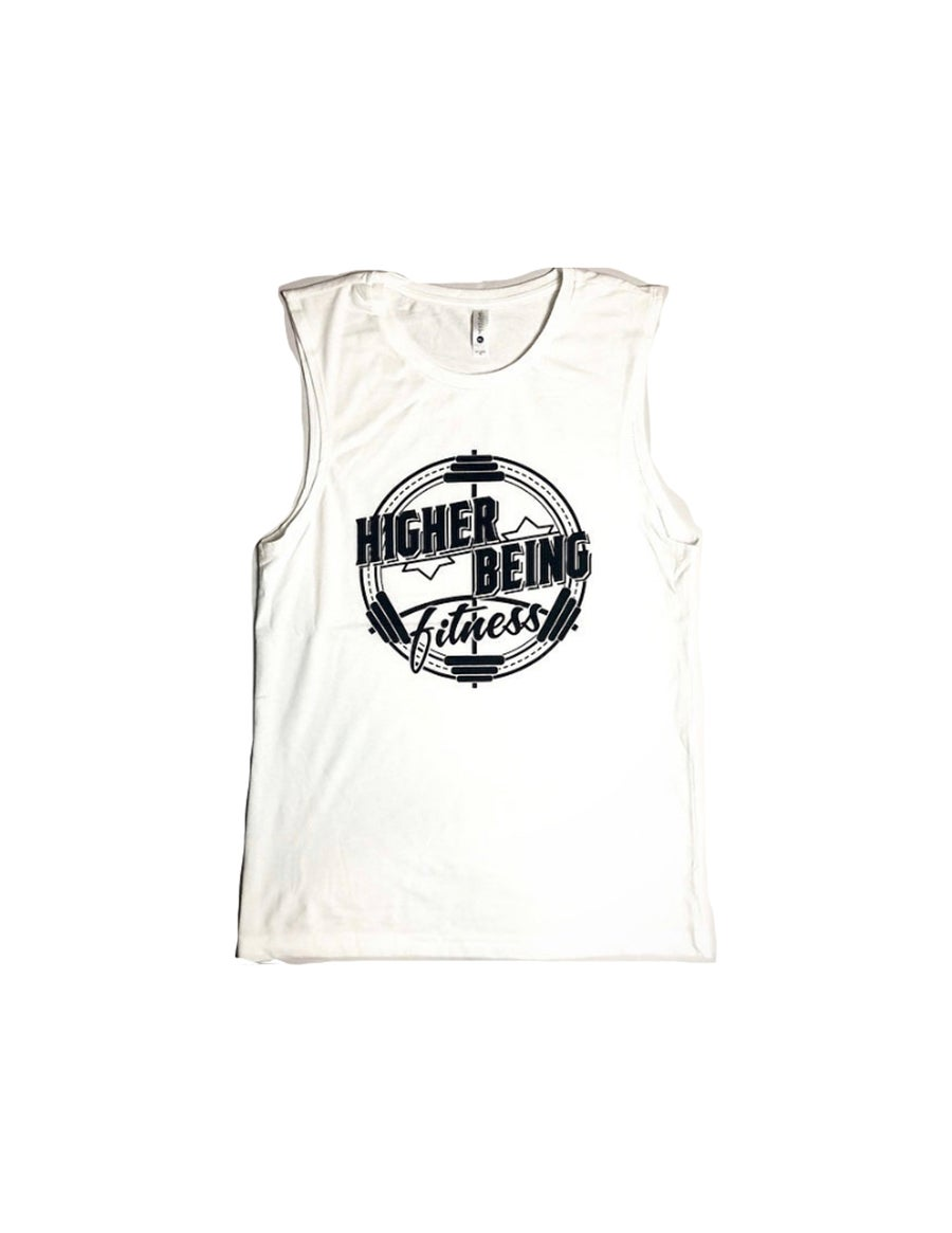 Image of White Higher Being Mens Muscle Tanks