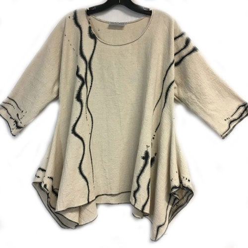 Image of Joy Tunic - natural colored 90%Cotton/10%Linen - Zen - hand painted wearable art tunic