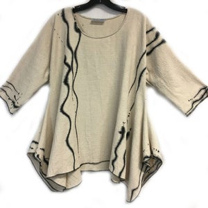 "Image of Joy Tunic - natural colored 90%Cotton/10%Linen - ""Zen""  - hand painted wearable art tunic"