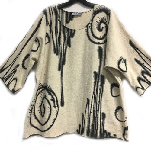 Image of Alison Tunic - natural colored 90% Cotton/10% Linen - hand painted