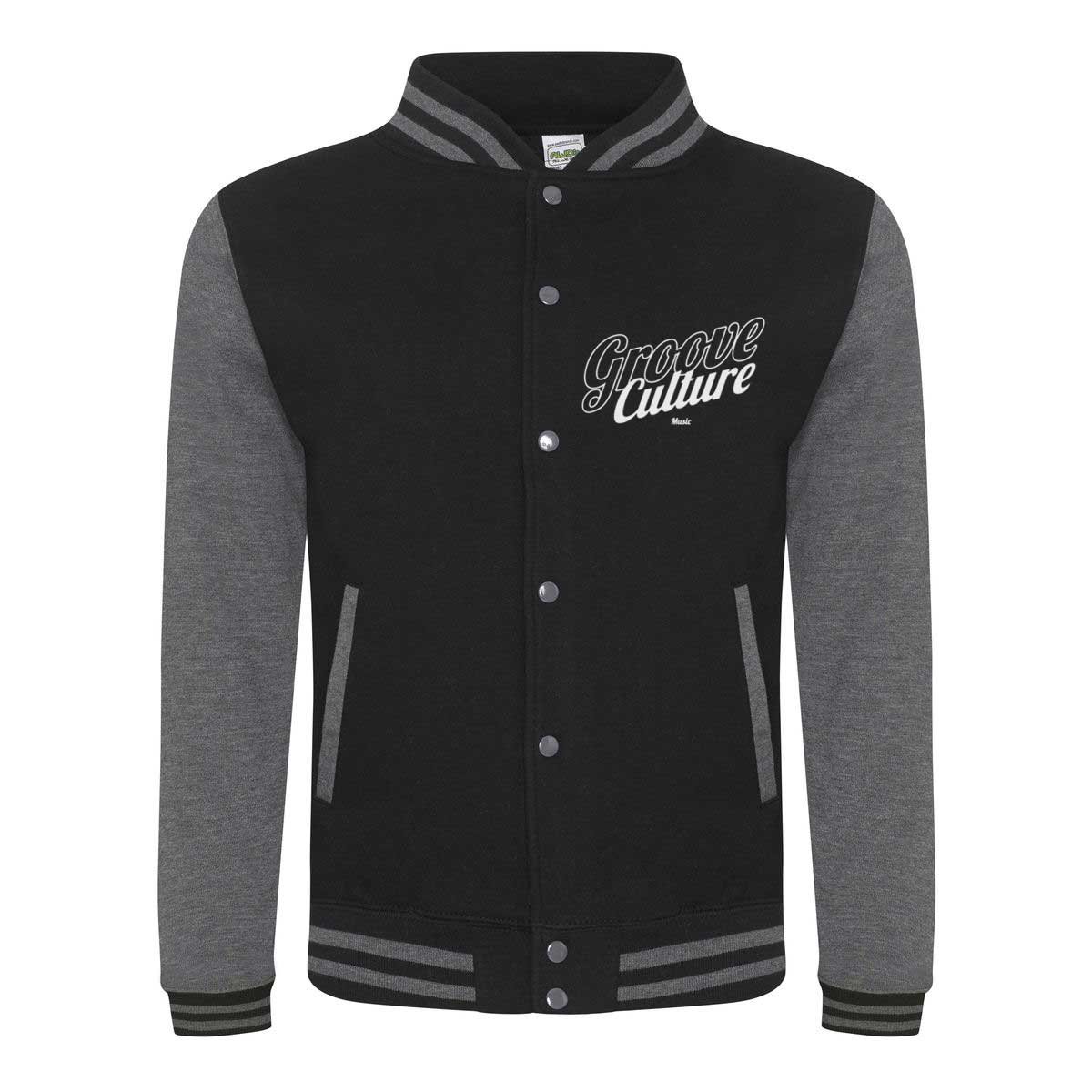 College Jacket BLACK & GREY EDITION Groove Culture Logo