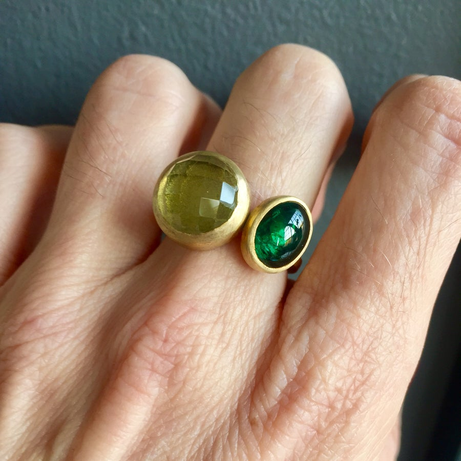 Image of Indian Summer Ring Lemon Quartz/ Green Tourmaline