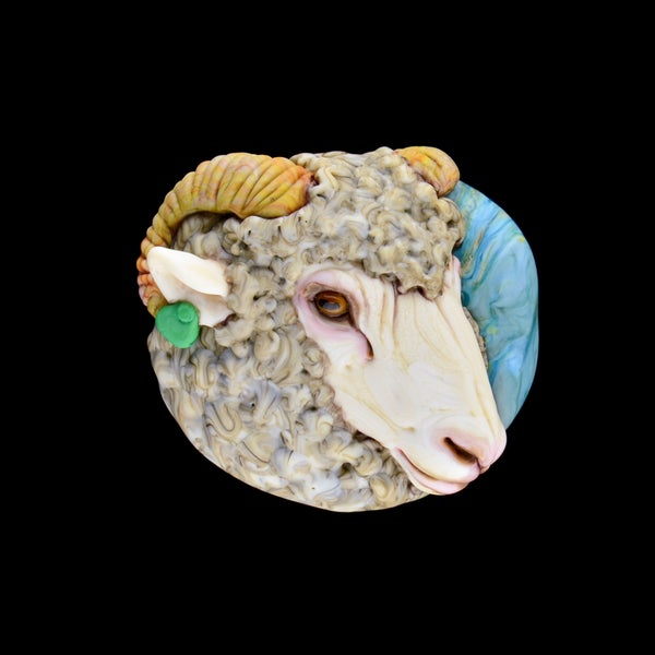 Image of XL. Puck the Woolly Sheep - Lampwork Glass Sculpture Pendant Bead
