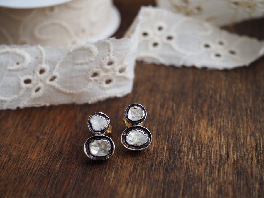 Image of Diamantes dormilona dobles....Double stud diamond earings