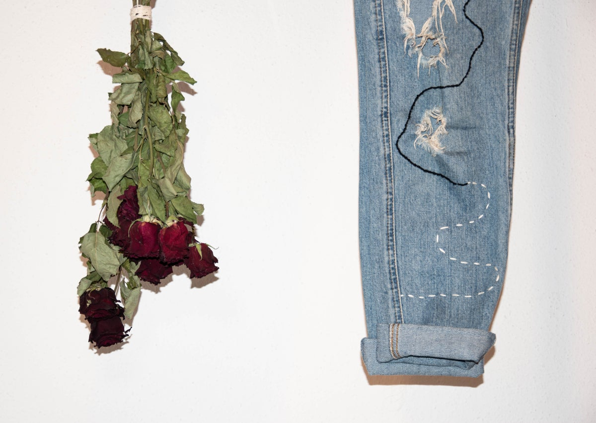 Image of jeans with embroidery