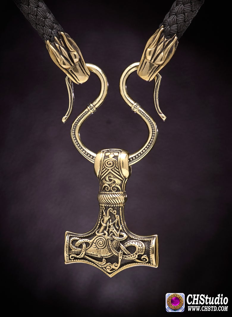Image of Thor's Hammer : MJOLNIR + Wolf Heads Paracord Necklace