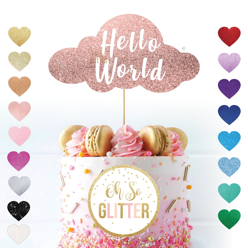 Image of Hello World Cloud - Cake Topper