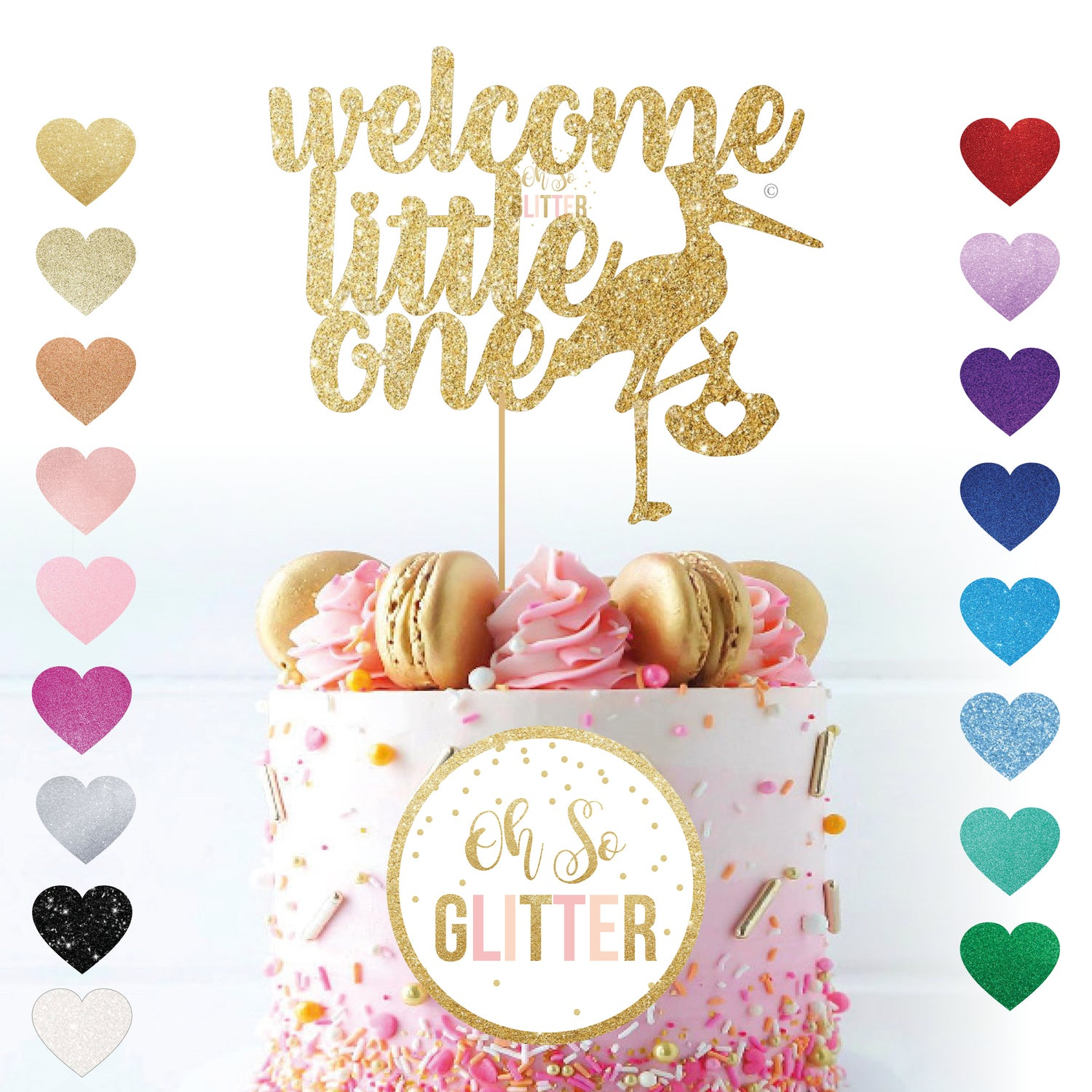 Image of Welcome Little One stork - cake topper