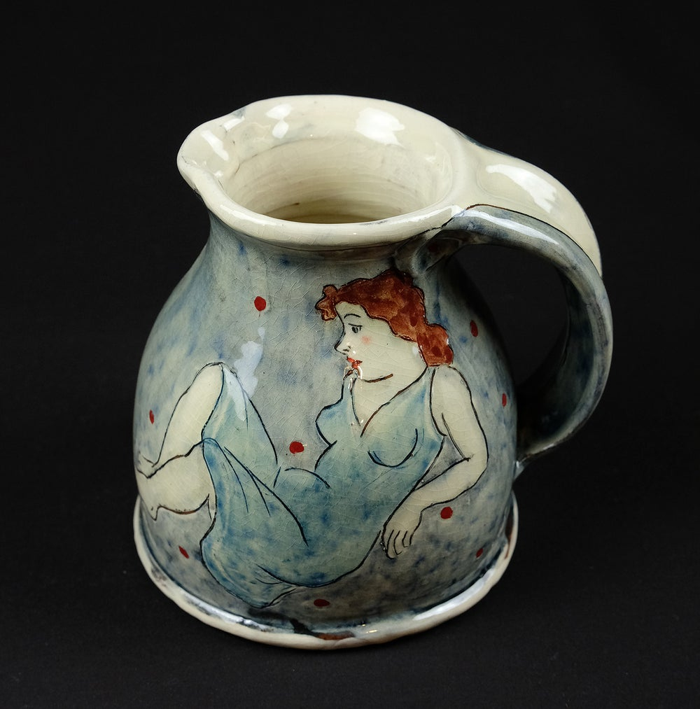 Image of LOUISE GARDELLE 'BLUE DRESS' CERAMIC JUG