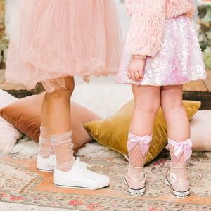 Image of Rhinestone Sheer Slouch Socks