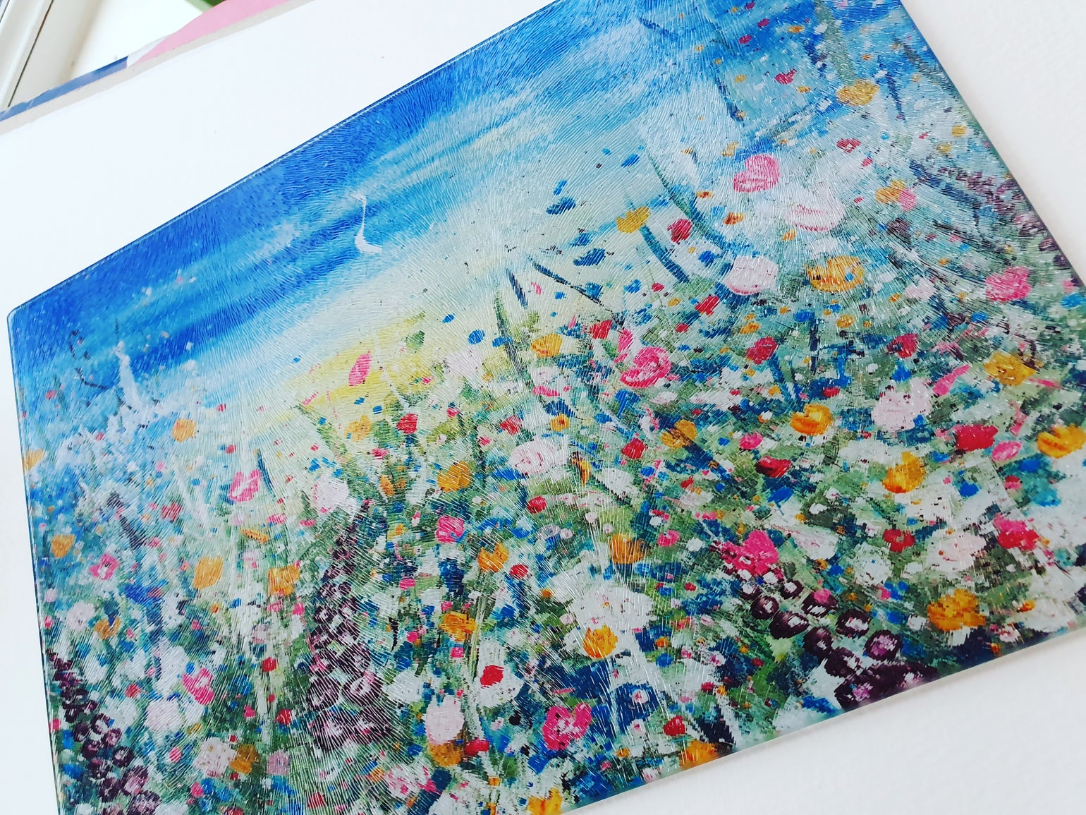 Image of 'Summer Love' Glass Chopping Board