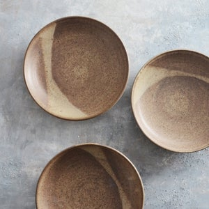 Image of set of 2 earthy shallow bowls