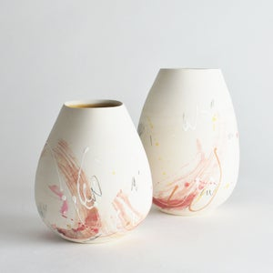 Image of Pink and Yellow altered Vase