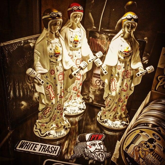 Image of Virgen de los Pistones Gold helmet