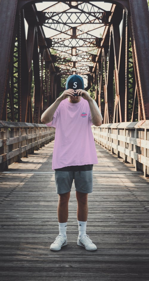 Image of E11evens - Pink chequered Circle t-shirt