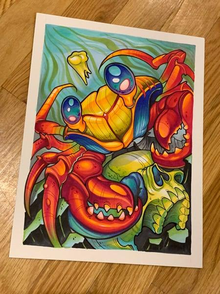 Image of Original Crab and Skull Marker Drawing