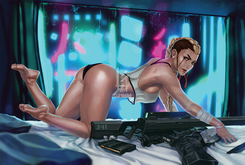 Image of August, Cyberpunk Pin-up Poster Prints