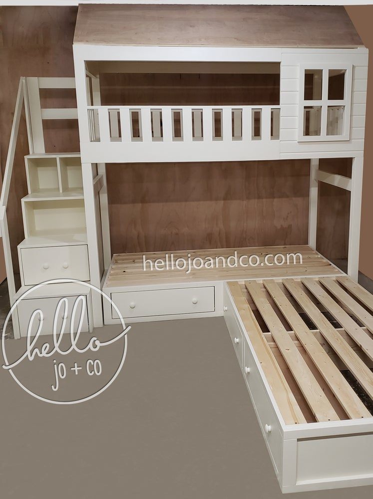 Image of Solid wood cottage triple bunk bed with stairs and storage