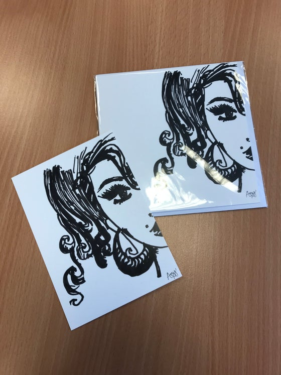 Image of Amy Self Portrait Greetings Card and Self Portrait Postcard pack - limited edition