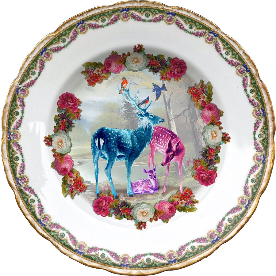 Image of Deer family - Vintage Porcelain Plate - More than 120 Years Antique - #0709
