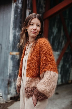 Image of Tofino Cardigan  (colourblocked shown - solid colour options)