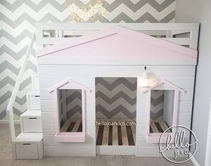 Image of Sleek Solid Wood Cottage Loft Bed