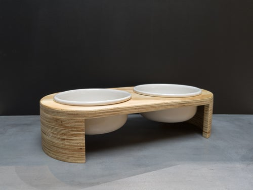 Image of Modern Dog Feeder, Raised / Elevated bowl Double stand