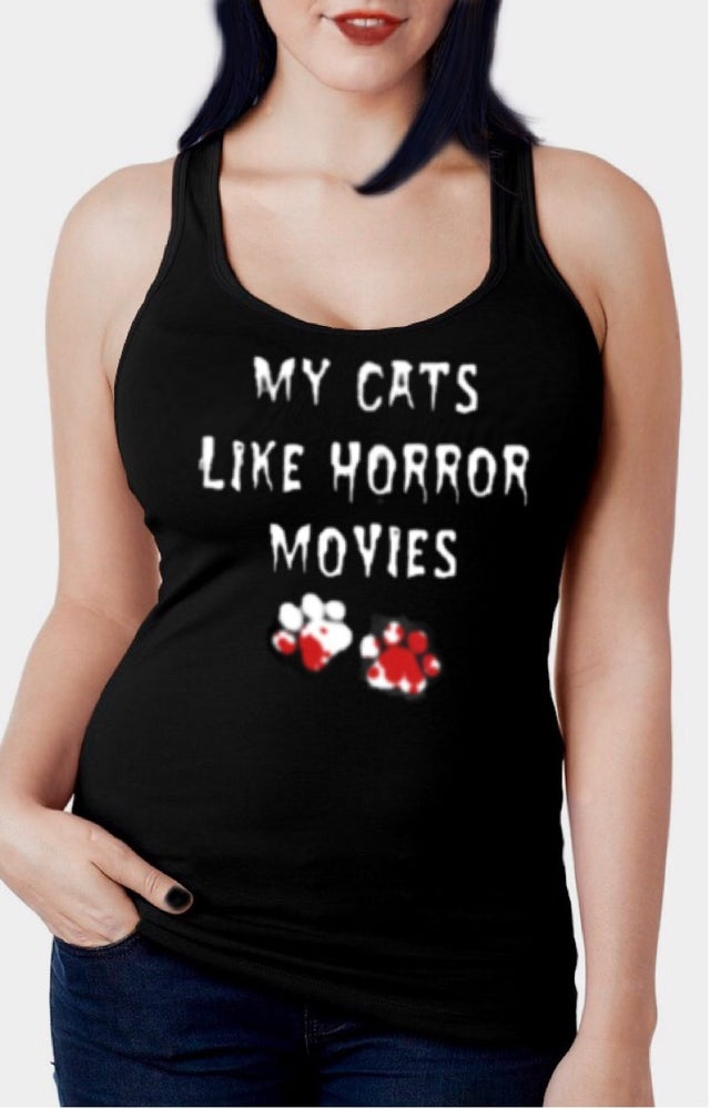 Image of My Cats Like Horror Movies Racerback Tank Top