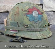 """Image of Vietnam M-1 Helmet & liner Mitchell Camo Cover """"9th Infantry Division"""" Rations"""