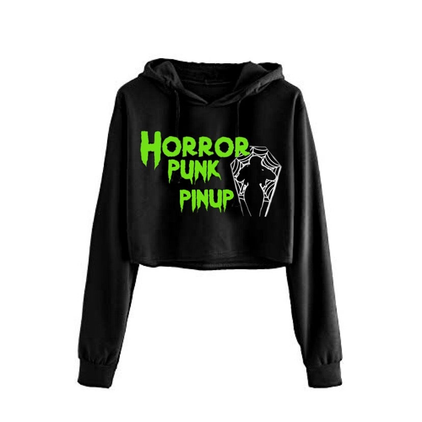 Image of Horror Punk Pinup Cropped Hoodie