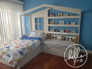 Image of Solid Wood Reading Nook Bed with Drawers toddler bed kid's bed bed with book shelves