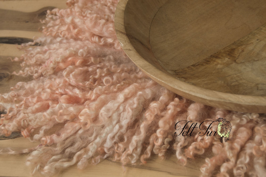 Image of Peachy Pink Curly Fringe Felted Napkin (E55), Newborn Photography Wool Prop. Size E. Ready to Ship.