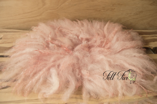 Image of Pink Fluffy Fringe Felted Napkin (E54), Newborn Photography Wool Prop. Size E. Ready to Ship.